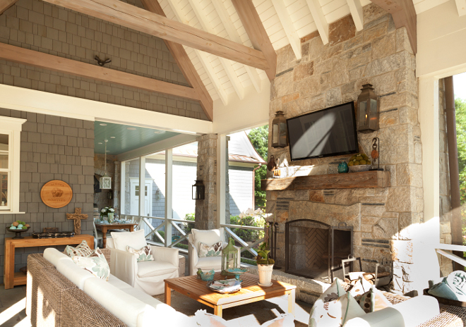 Stone Fireplace with reclaimed mantel. Stone Fireplace with reclaimed mantel. Stone Fireplace with reclaimed mantel T.S. Adams Studio. Interiors by Mary McWilliams from Mary Mac & Co.