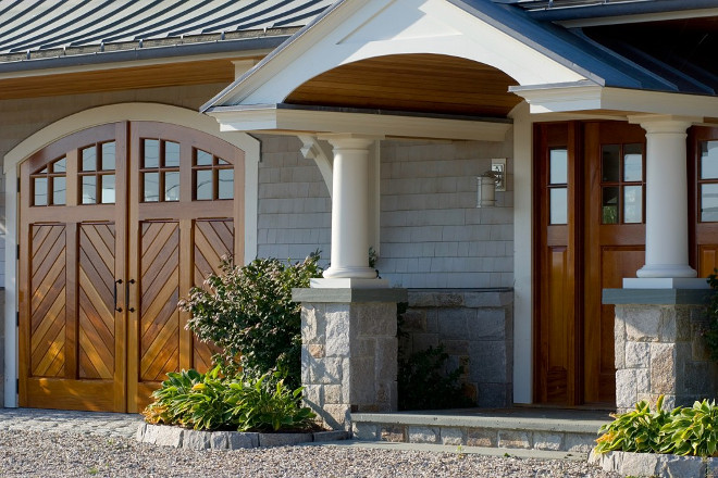 Stone and shingle exterior. Home exterior with natural wood doors and Stone and shingles. Stone and shingle exterior #Stoneexterior #shingleexterior #stoneandshingle #homeexterior Bowley Builders