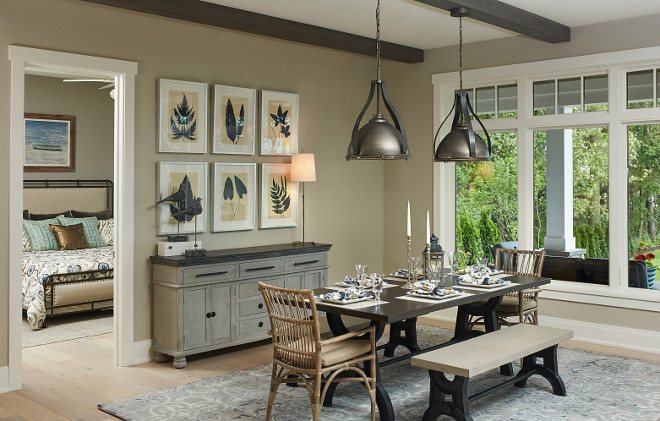 Tan dining room paint color. Greige dining room paint color is Benjamin Moore Revere Pewter HC 172 #Greige #tan #diningroom #paintcolor #BenjaminMooreReverePewter #BenjaminMooreHC172