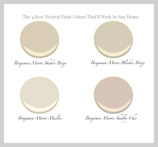 The 4 Best Neutral Paint colors that will work in any home: Benjamin Moore Shaker Beige. Benjamin Moore Bleeker Beige. Benjamin Moore Muslin. Benjamin Moore Shabby Chic. #BestNeutralPaintcolors #BenjaminMooreShakerBeige #BenjaminMooreBleekerBeige #BenjaminMooreMuslin #BenjaminMooreShabbyChic