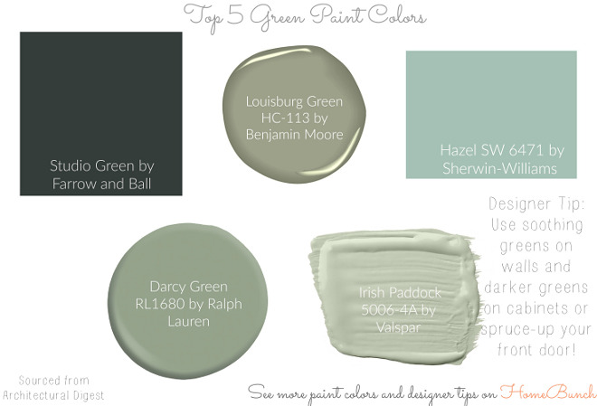 Top 5 Green Paint Colors. Green Paint Colors: Studio Green by Farrow and Ball, Louisburg Green HC-113 by Benjamin Moore, Hazel SW 6471 by Sherwin-Williams, Darcy Green RL1680 by Ralph Lauren, Irish Paddock 5006-4A by Valspar. #green #paintcolors #GreenPaintColors #GreenPaintColor #StudioGreenbyFarrowandBall #LouisburgGreenHC113byBenjaminMoore #HazelSW6471bySherwinWilliams #DarcyGreenRL680byRalphLauren #IrishPaddockbyValspar Via HomeBunch