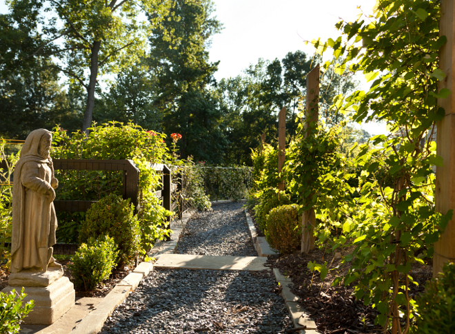 Vegetable Garden Path. The vegetable garden path is gravel. #vegetablegarden #gardenpath #gravel #path T.S. Adams Studio. Interiors by Mary McWilliams from Mary Mac & Co.