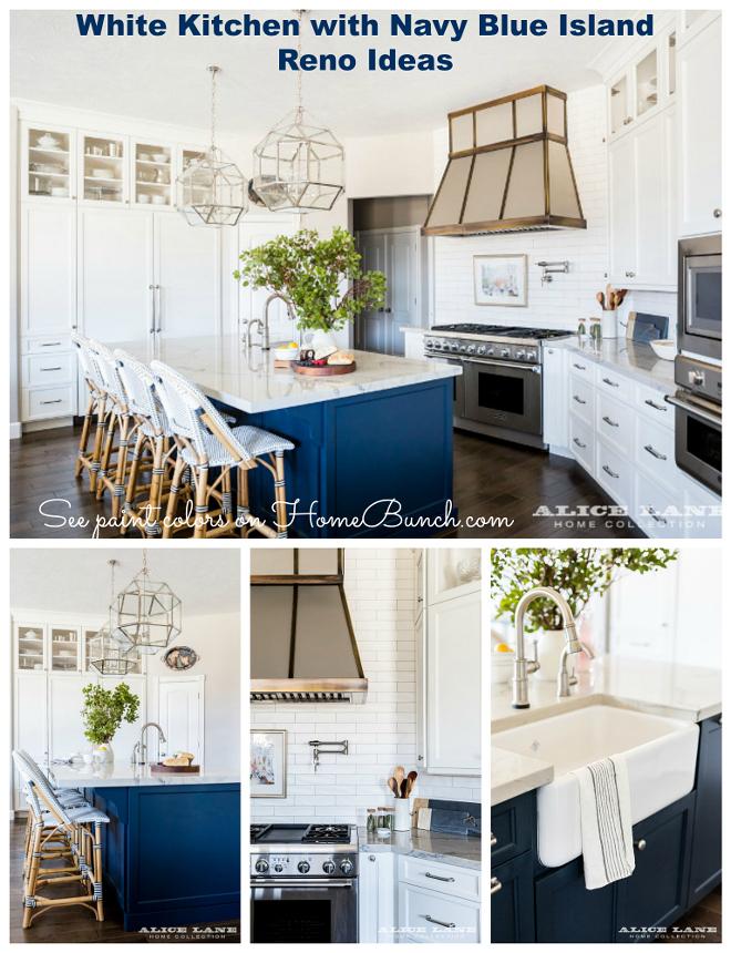 White Kitchen with Navy Blue Island Reno Ideas