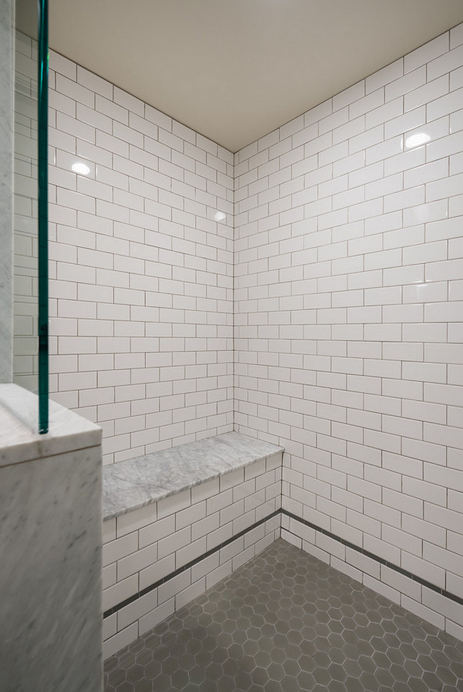 White and gray shower tile ideas. Combination of White and gray shower tiles. #Whiteandgrayshowertile #Whiteandgrayshower Northstar Builders, Inc.