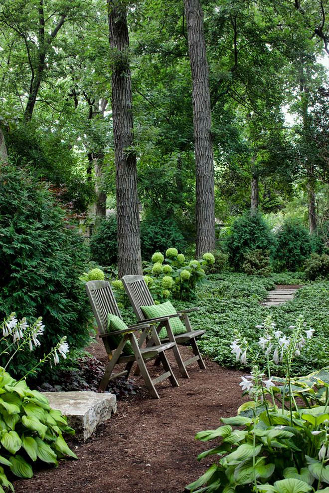 "Woody Gardens. The woody strolling garden combines steppers and shredded bark as it winds through the border, pausing at a ""story stone"". Planting locations minimize disturbance to existing canopy tree roots and provide privacy within the yard. #gardens #landscaping #woodsygardens Hursthouse Landscape Architects and Contractors"