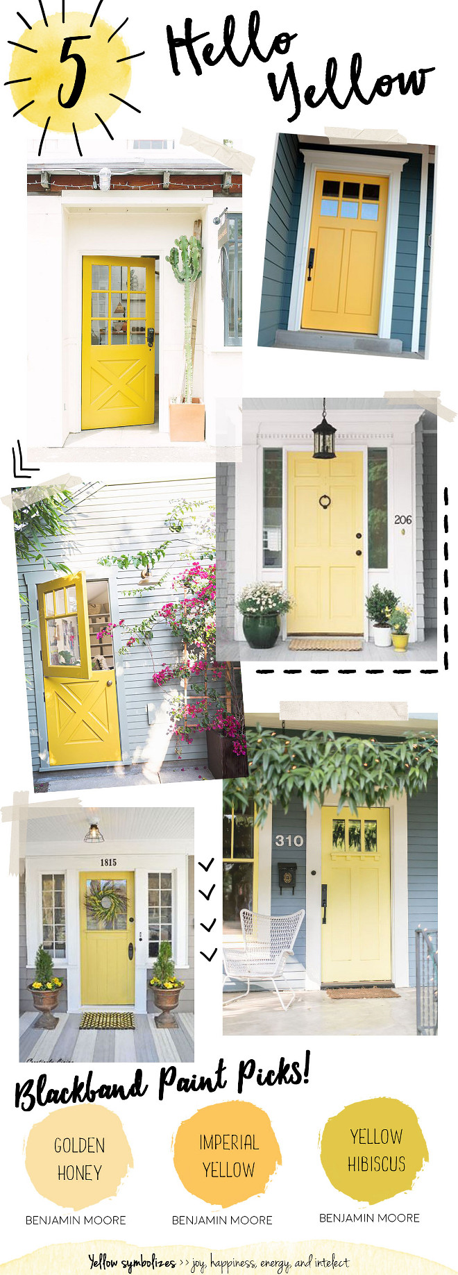 Yellow Door Paint Color. Yellow Front Door Paint Color. Benjamin Moore Golden Honey. Benjamin Moore Imperial Yellow. Benjamin Moore Yellow Hibiscus. Yellow is a cheerful way to welcome guests into your home. Representing the sun, a bright shade of yellow can bring happiness, warmth and energy to your front door. This color is best suited for exteriors with neutral tones like whites, grays, and shades of brown. #BenjaminMooreGoldenHoney #BenjaminMooreImperialYellow #BenjaminMooreYellowHibiscus