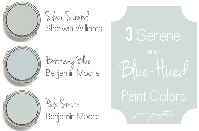Serene Coastal Blue Paint Colors. Sherwin Williams Silver Strand. Benjamin Moore Brittany Blue. Benjamin Moore Pale Smoke #serenepaintcolors #bluepaintcolors #coastalpaintcolors #SherwinWilliamsSilverStrand #BenjaminMooreBrittanyBlue #BenjaminMoorePaleSmoke Via Grace Gumption
