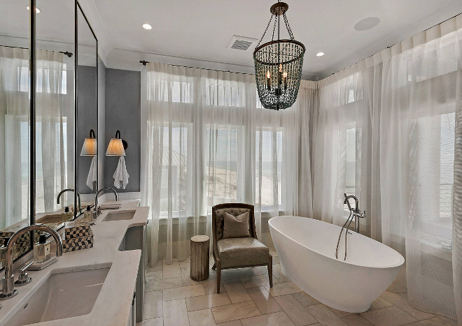 Bathroom Draperies. Grey Bathroom with sheer Draperies. Bathroom Drapery. Bathroom Draperies. #Bathroom #Draperies Geoff Chick & Associates
