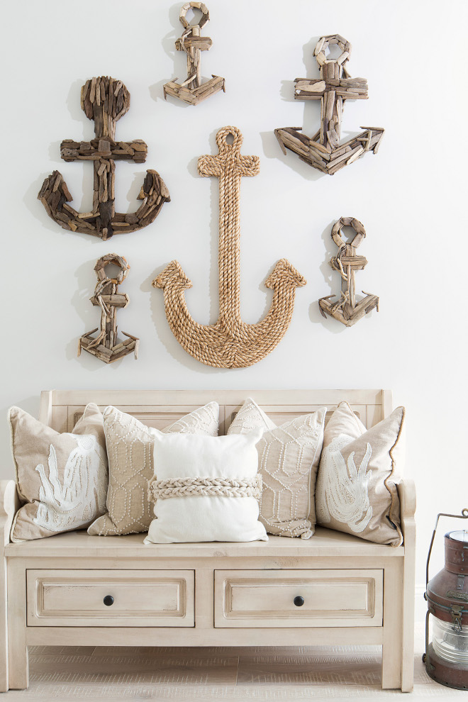 Anchors. Coastal Foyer with anchors on wall. Anchors of different sizes and material, such as rope, driftwood, reclaimed wood. #Anchors #Anchor #Foyer #Decor #Homedecor #rope #driftwood #reclaimedwood