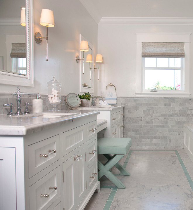 Bathroom Cabinet with two sinks and vanity in the center. Vanity cabinet separates the two sinks. Bathroom cabinet. #Bathroom #cabinet #layout #twosinks #vanity #bathroomcabinetlayout Flagg Coastal Homes