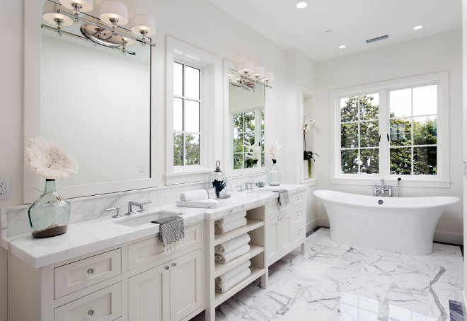 Bathroom cabinet. Long bathroom cabinet layout. Bathroom with long cabinet with two sinks and open shelves between sinks. #Bathroom #Cabinet #Longcabinet #bathroomcabinet #cabinetlayout