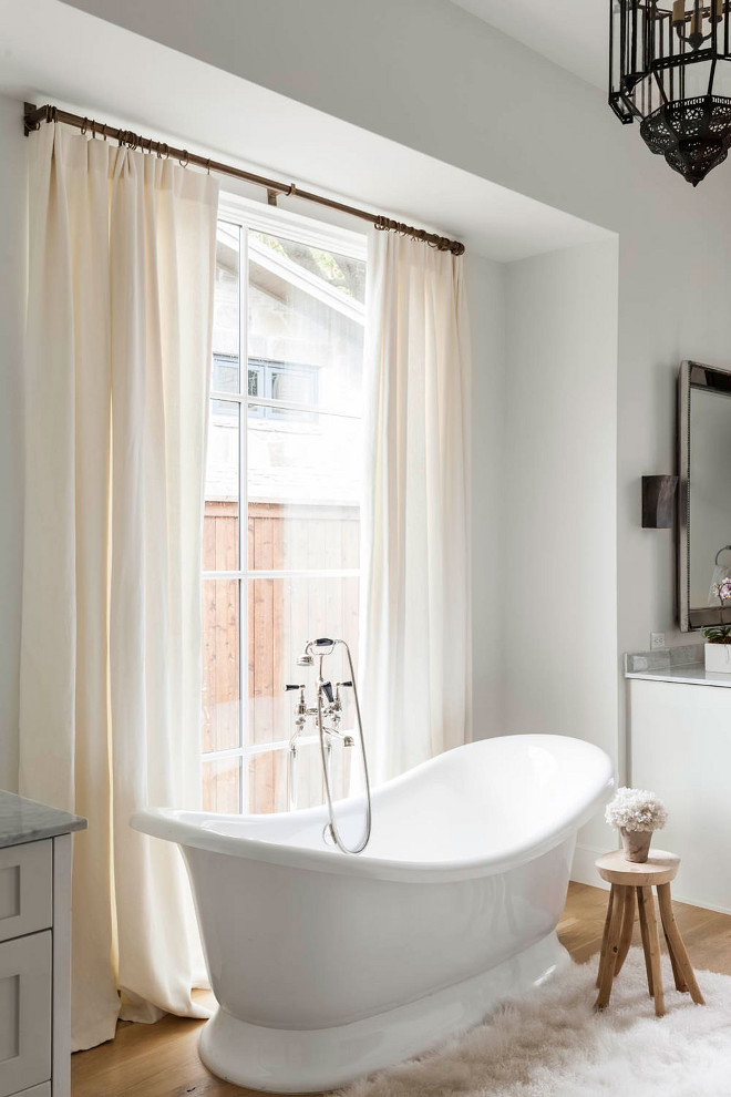 Bathroom draperies behind freestanding tub. Bathroom Linen draperies behind freestanding tub. Bathroom draperies behind freestanding tub. #Bathroom #draperies #freestandingtub