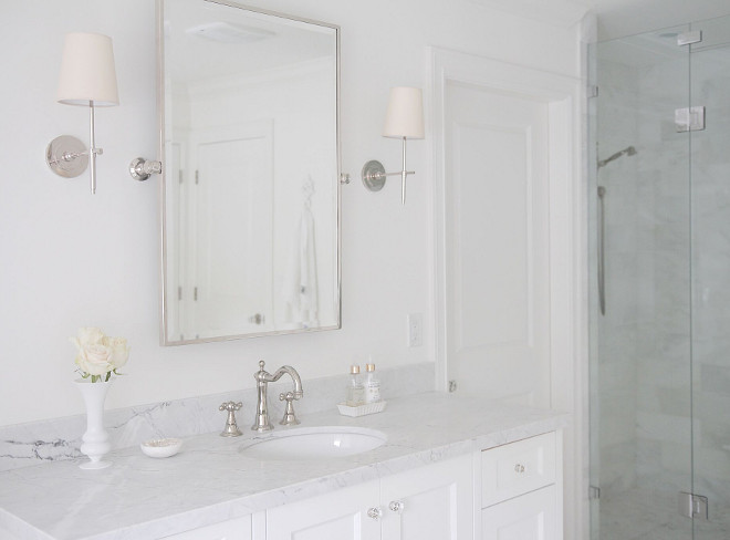 Bathroom sconces. Bathroom sconces. Bathroom sconces are Sconces- Circa Lighting- Thomas O'Brien, Bryant sconce - polished nickel- natural paper shade no trim. #Bathroom #sconces jshomedesign