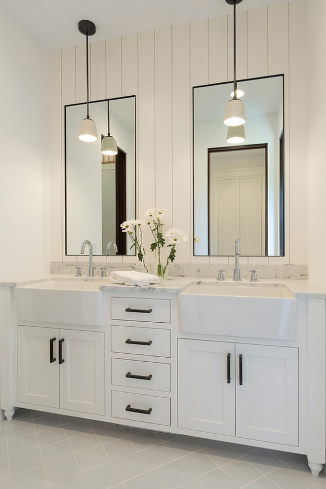Bathroom shiplap wall behind mirrors. Bathroom with shiplap wall behind mirrors. Bathroom shiplap wall behind mirror ideas #Bathroomshiplap #shiplapwallbehindmirror #shiplapwall Studio M Interiors. Stonewood, LLC