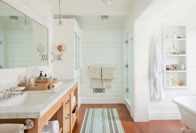 Bathroom shiplap. Bathroom horizontal shiplap. The walls are sheathed in horizontal wood boards. The basic white in the house is Martha Stewart Pith #8006, with Bright White H32 trim.