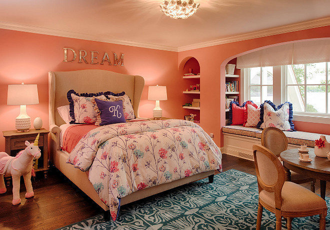 Benjamin Moore Minstrel Heart 1297. Pink and turquoise, teal girls bedroom. Paint color is Benjamin Moore Minstrel Heart 1297. Benjamin Moore Minstrel Heart 1297 #BenjaminMooreMinstrelHeart #BenjaminMoore1297 Studio M Interiors