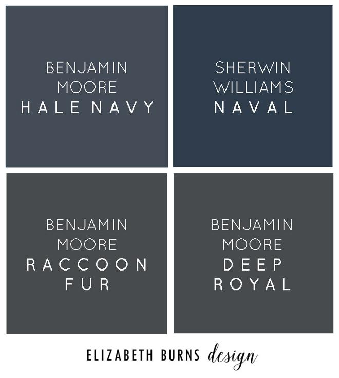 Best Navy Paint Colors. Benjamin Moore Hale Navy, Sherwin Williams Naval, Benjamin Moore Raccoon Fur, Benjamin Moore Deep Royal Via Elizabeth Burns Design.
