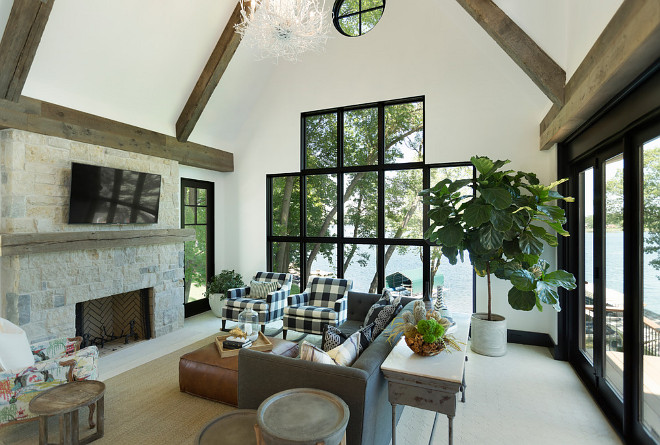 Black Steel Windows. Floor to ceiling Black Steel Windows. Living room with Black Steel Windows and Black Steel Patio Doors. Black Steel Windows. Black Steel Doors. #BlackSteel #BlackSteelWindows #BlackSteelDoors #BlackSteelPatioDoors Studio M Interiors. Stonewood, LLC.