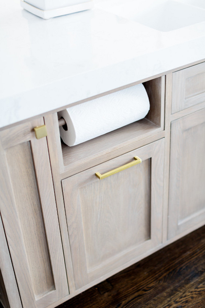 Built in paper towel holder. Kitchen island cabinet with Built in paper towel holder. Built in paper towel holder ideas #Builtinpapertowelholder #papertowelholder Finish Point Trim & Millwork, Inc