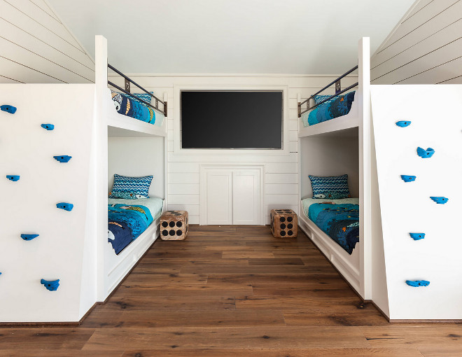 Bunk Room Bunk Beds with Climb Walls instead of ladders. Bunk Room Bunk Beds with Climb Walls. #BunkRoom #BunkBeds #ClimbWalls Frankel Building Group
