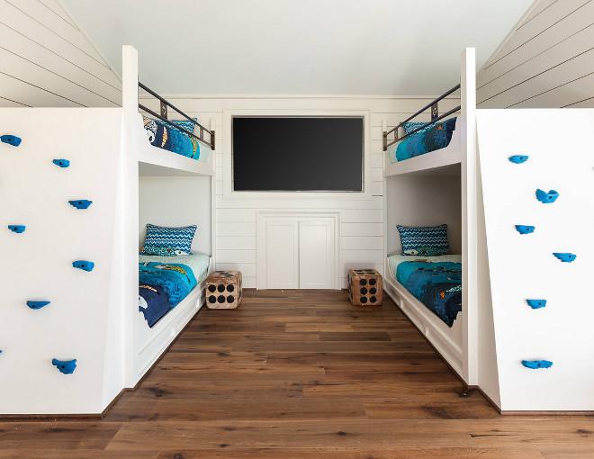 Bunk Room Bunk Beds with Climb Walls instead of ladders. Bunk Room Bunk Beds with Climb Walls. #BunkRoom #BunkBeds #ClimbWalls Frankel Building Group