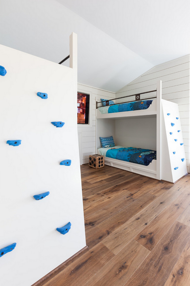 Bunk room custom bunk beds with climbing walls. Fun idea for kids bunk room. Bunk room custom bunk beds with climbing walls #Bun room #custombunkbeds #bunkbedss #climbingwalls Frankel Building Group