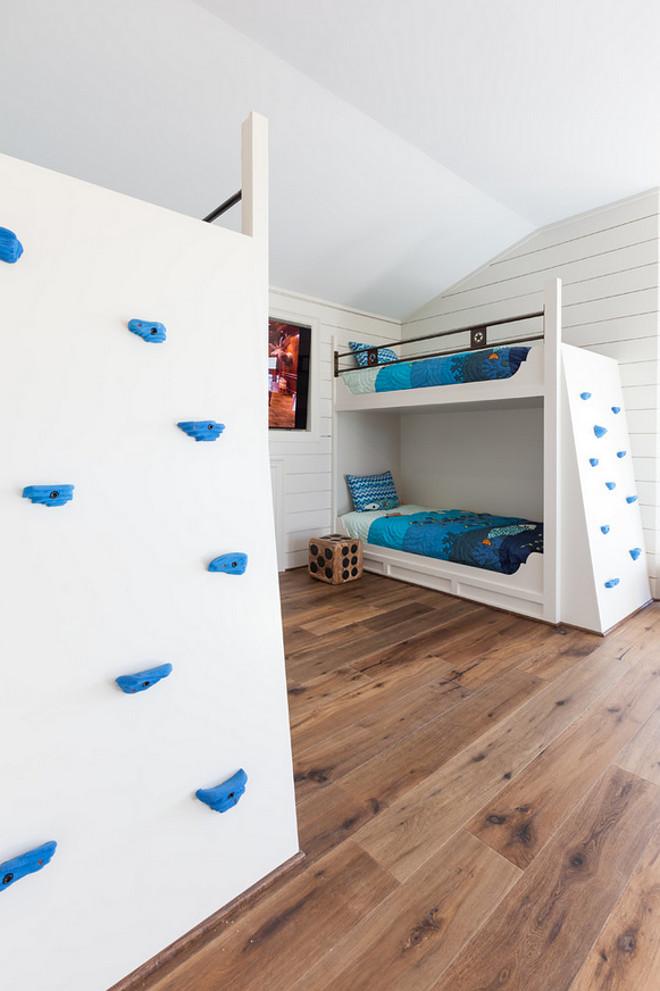 Bunk room custom bunk beds with climbing walls. Fun idea for kids bunk room. Bunk room custom bunk beds with climbing walls #Bun room #custombunkbeds #bunkbedss #climbingwalls Frankel Building Group