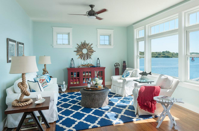 Coastal family room. Coastal family room with white slipcovered couches. Coastal family room #Coastalfamilyroom #familyroom #coastalinteriors #slipcoveredcouches #sofa