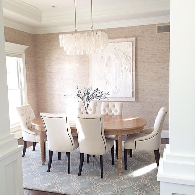Dining room wallpaper. Dining room wallpaper is Seabrook Natural Resource Wallpaper. #Diningroom #wallpaper #SeabrookNaturalResourceWallpaper Beautiful Homes of Instagram carolineondesign