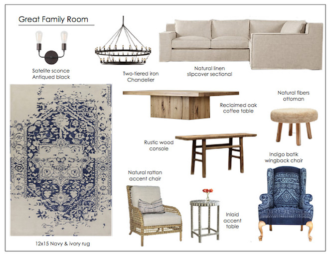 Family Room Mood Board Ideas. Family Room Mood Board. Family Room Mood Board. #FamilyRoomMoodBoard Via Becki Owens.