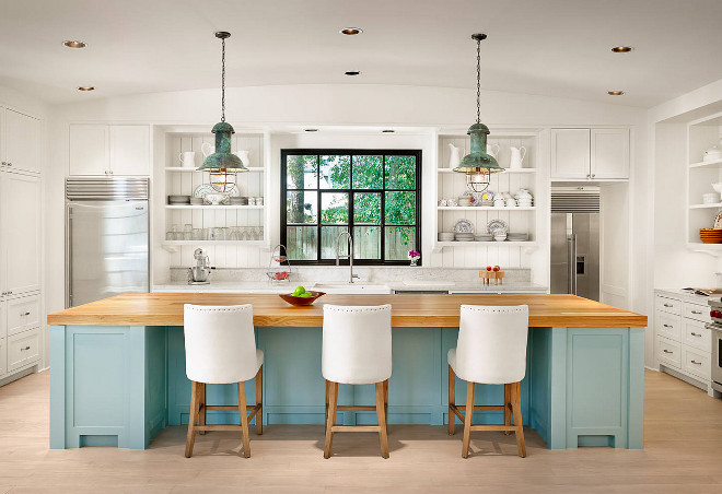 Farmhouse kitchen with turquoise blue island. Farmhouse kitchen with turquoise blue island topped with butchers block countertop. Farmhouse kitchen with turquoise blue island. #Farmhousekitchen #Farmhousekitchen #Farmhouse #kitchen turquoisekitchenisland #blueisland