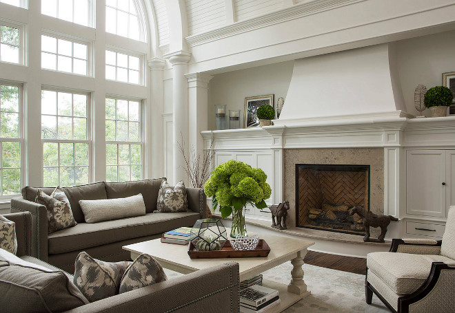 Grand Fireplace W Vaulted Ceilings Beams Open Floor: Traditional Living Room With Barrel Ceiling
