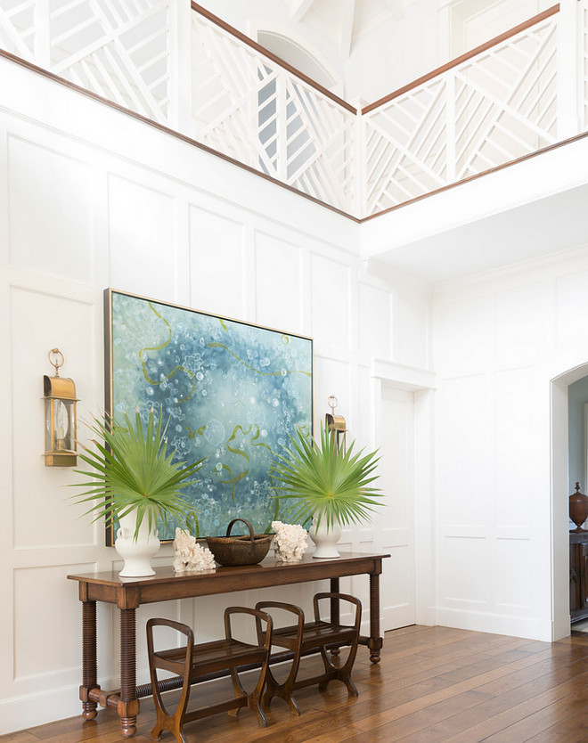 Foyer paneled walls and staircase railing. Foyer paneled walls and staircase railing ideas. Custom Foyer paneled walls and staircase railing.  #Foyer #Foyerpaneledwalls #Foyerstaircase #Foyerrailing Phoebe Howard