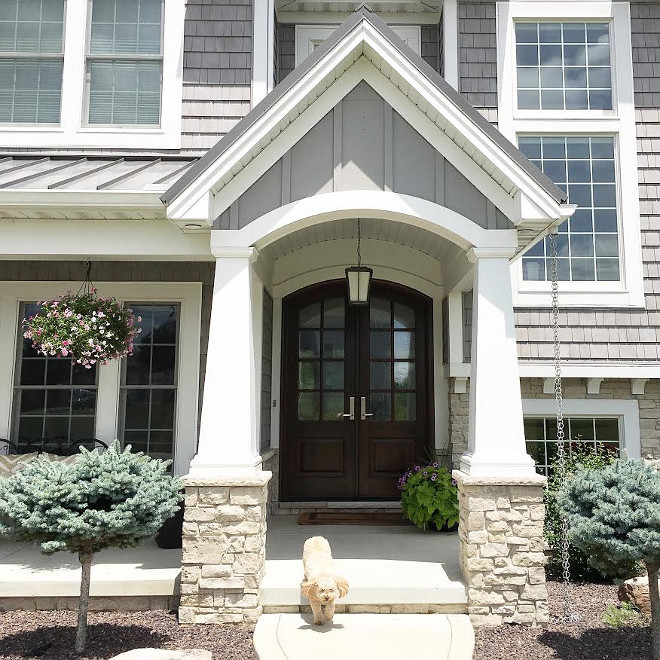 Front Entry Porch with Craftsman tapered columns. These Tapered columns with a flat recessed panel combine Craftsman style with traditional stile-and-rail construction. Porch with Craftsman tapered columns. #Porch #Craftsmancolumns #taperedcolumns Beautiful Homes of Instagram carolineondesign