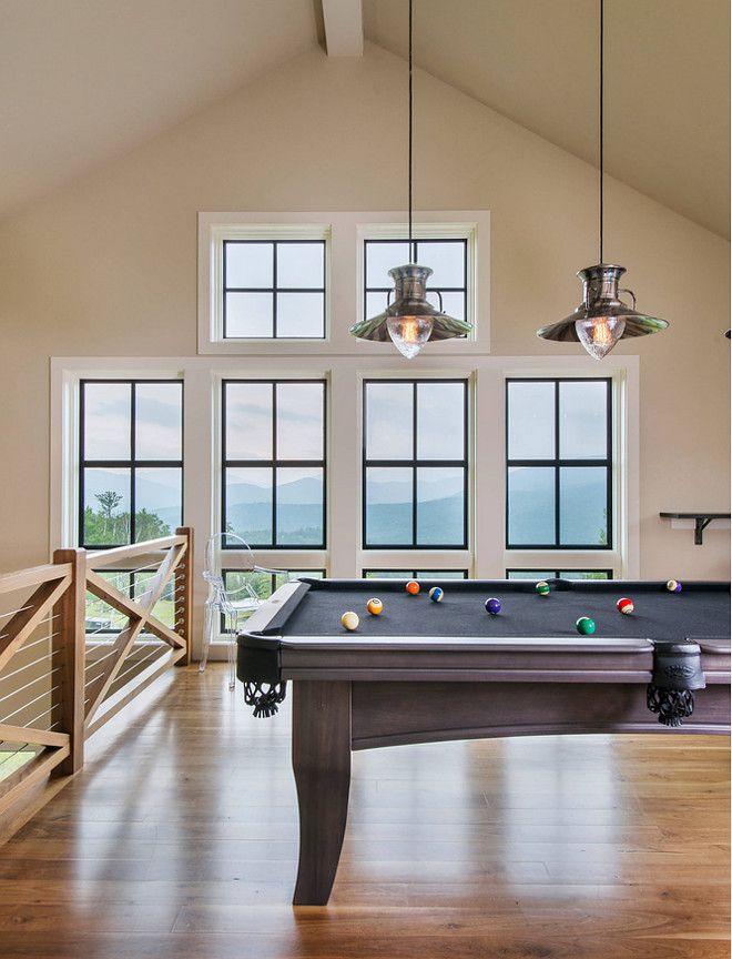 Games Room. Games room with Billiard table. Billiard Lighting over Billiard table made by Hi Lite. #Gamesroom #Billiardtable. Caldwell & Johnson Custom Builders & Remodelers