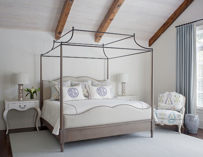 Graywash wood bed in bedroom with reclaimed whitewashed wood ceiling. Gorgeous master bedroom with Graywash wood bed and whitewashed wood ceiling. Graywash wood bed #Graywashwood #bed #whitewashed #woodceiling Margaux Interiors Limited
