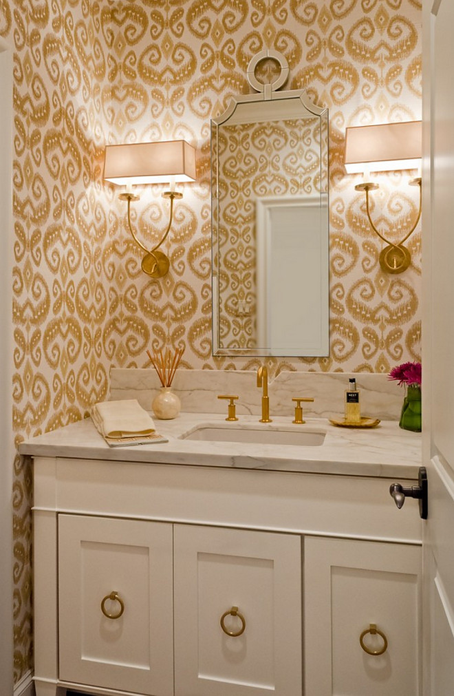 Ikat Powder room wallpaper. Ikat Phillip Jeffries Wallpaper. Phillip Jeffries makes this Ikat grasscloth wall covering. #Powderroom #ikat #IkatWallpaper #PhillipJeffries BRADSHAW DESIGNS LLC