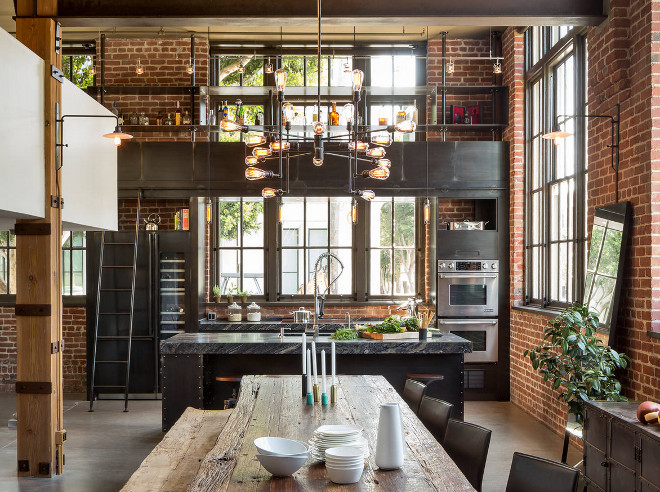 Industrial Kitchen. Loft with industrial kitchen. San Francisco Loft industrial kitchen. Industrial Kitchen lighting, Industrial Kitchen Cabinets, Industrial Kitchen Flooring. #Loftindustrialkitchen #IndustrialKitchen #lighting #IndustrialKitchenCabinets #IndustrialKitchenFlooring Muratore Construction + Design