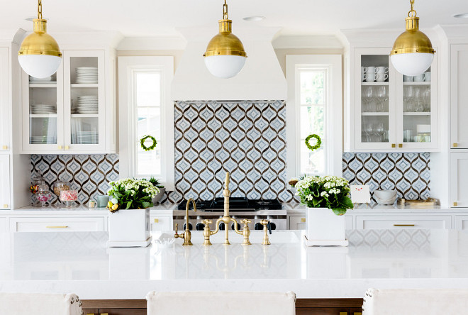 Kitchen Backsplash. White Kitchen With Blue Backsplash Tile. White Kitchen  With Blue Mosaic Backsplash