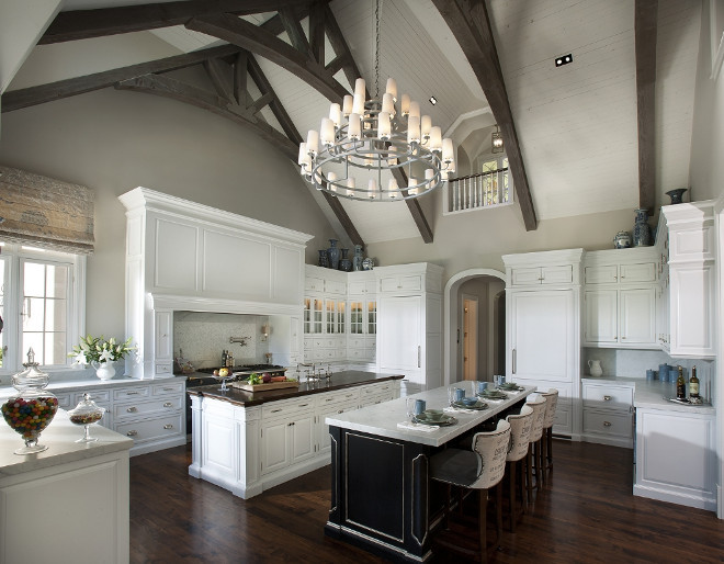 Kitchen cathedral ceiling and greywashed beams. Large kitchen with high Cathedral ceiling and exposed greywashed beams. Kitchen cathedral ceiling and greywashed ceiling beams #Kitchen #cathedralceiling #greywashed #ceiling #beams