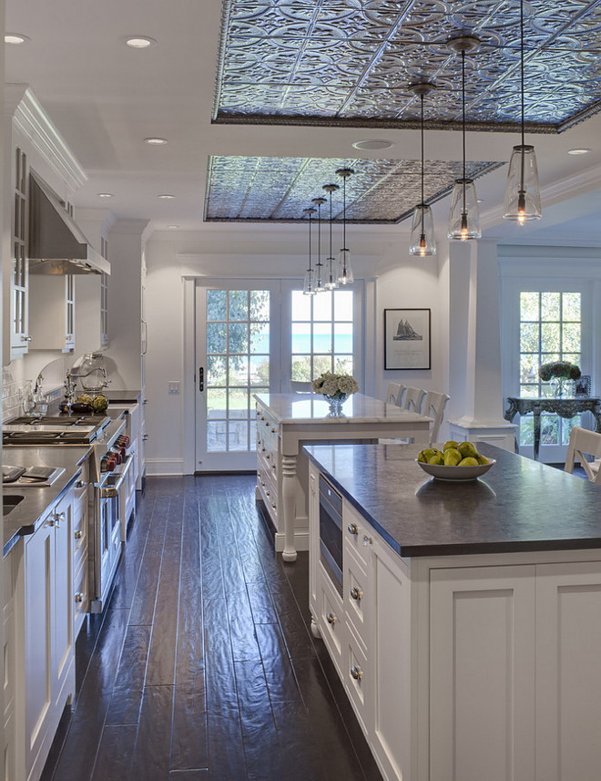 Kitchen ceiling design above island. Pressed tin tiles in kitchen. Tin ceiling tiles from the American tin ceiling company. Pattern #2 Silver Brushed Bronze. Kitchen ceiling design above island ideas. Kitchen ceiling design above island. #Kitchen #kitchenceiling #ceilingdesignaboveisland