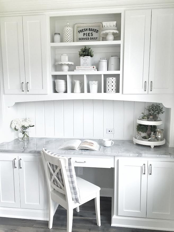 Kitchen desk. White kitchen desk cabinet. White kitchen desk with shiplap backsplash and Superwhite Quartzite countertop. #Whitekitchendesk #kitchendesk #desk #shiplap #backsplash #Superwhite #Quartzite #countertop mytexashouse