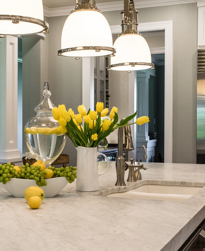 Kitchen honed carrara marble. Kitchen island with honed carrara marble. Kitchen honed carrara marble ideas. #Kitchen #honedcarraramarble #Kitchenhonedcarraramarble #kitchenisland #honed #carrara #marble BRADSHAW DESIGNS LLC