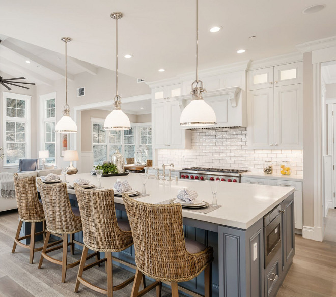 Kitchen island lighting. Kitchen lighting is Hudson Valley 2623-PN. Lighting Hudson Valley 2623-PN. The kitchen lighting is Hudson Valley Hudson Valley 2623 Randolph - $750.00 each #kitchen #lighting #kitchenlighting #HudsonValley2623PN