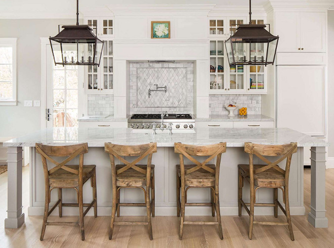 Kitchen lighting. Beautiful kitchen island with two lantern pendant lights. Kitchen lighting ideas. Beautiful kitchen island with two lantern pendant lights. #kitchen #lighting #lights #lanterns #pendants  Fox Group Construction.