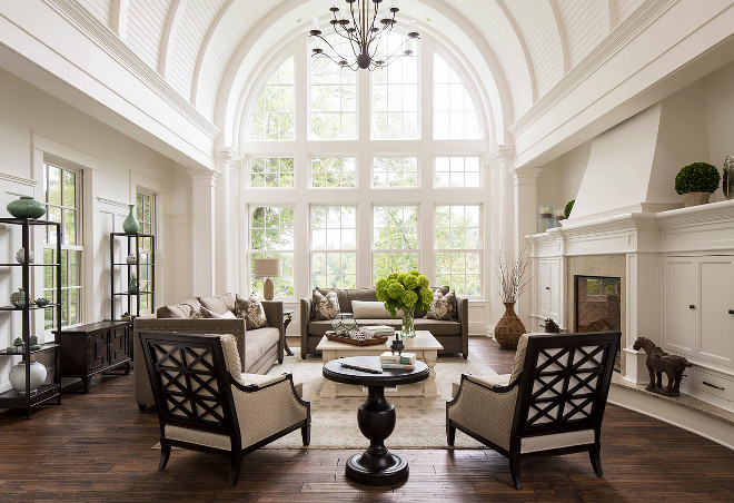 Living Room with Barrel Ceiling. Living Room with Barrel Ceiling. Beautiful living room with high barrel ceiling with tongue and groove and floor to ceiling windows #livingroom #barrelceiling #floortoceilingwindows #barrelceilings The Sitting Room