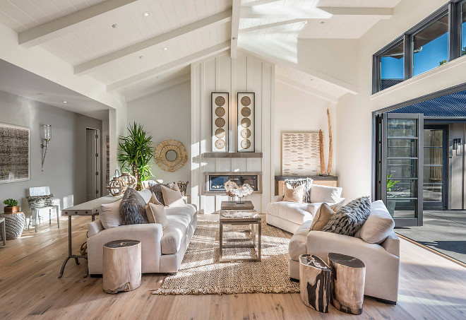 Living room vaulted ceiling with shiplap and folding patio doors. Open concept Living room vaulted ceiling with shiplap and folding patio doors. #Openconcept #openlivingroom #Livingroom #vaultedceiling #shiplapceiling #foldingpatiodoors Joseph Farrell, Architect