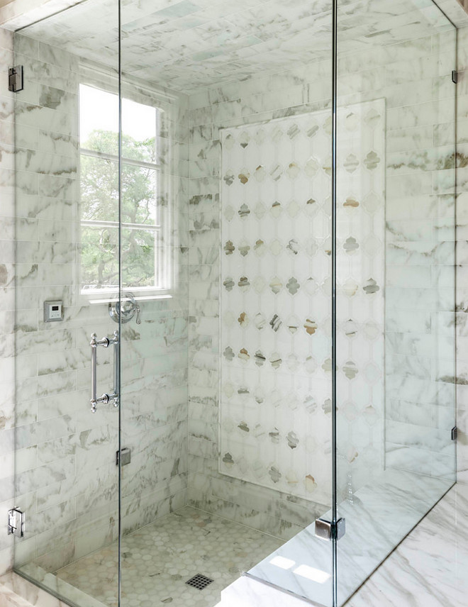 Marble shower tiles. Floor, ceiling and walls feature marble tiles in this shower. Marble shower tiles. Floor, ceiling and walls feature marble tiles in this shower. #Marbleshowertiles #Floortile #ceilingtile #walltile #bathroomtile #bathroom #marbletiles #shower Robert Elliott Custom Homes