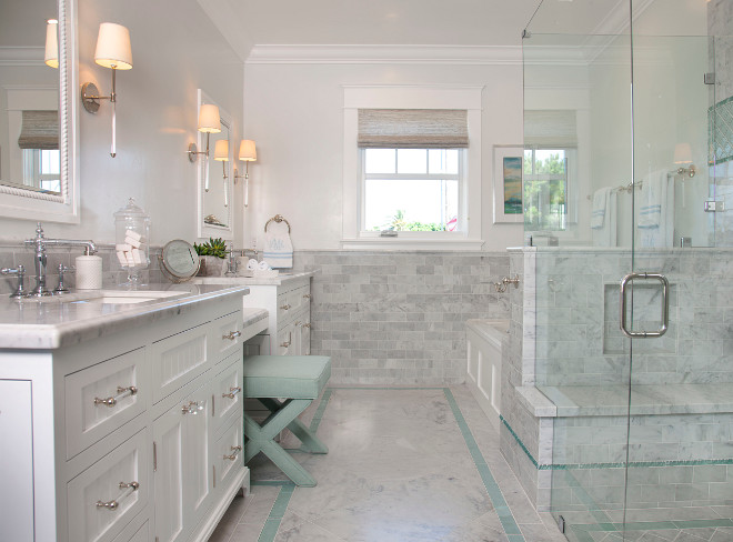 Master Bath Tiling. Master Bath Tiles. The master bathroom offers a great layout and a beautiful combination of wall and floor tiles. Master Bath. Tiles. Master Bath Tiling Ideas. #MasterBath #tiling #tilesFlagg Coastal Homes