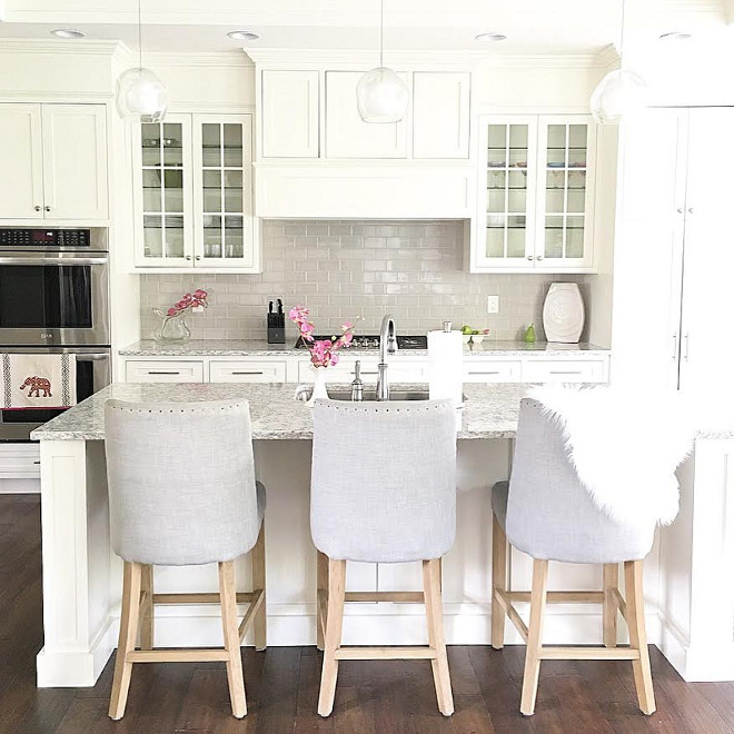 Neutral kitchen paint color. The neutral kitchen paint color is Benjamin Moore OC-17 White Dove and Neutral backsplash is Casabella Tile H-Line Collection, color Pumice. #neutralkitchen #neutral #kitchen #backsplash #paintcolor #BenjaminMooreOC17Whitedove